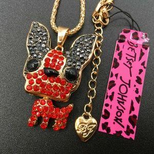 Betsey Johnson Red/Black Rhinestone Lovely Bulldog